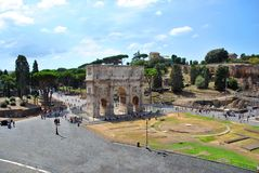 Arch of Titus from the Roman Coliseum Stock Images