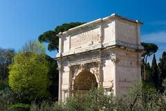 Arch of Titus in Rome. Triumphal Arch of Titus in Rome near Colosseum Royalty Free Stock Images