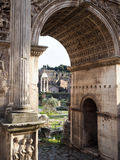 Arch of Titus in Rome. Detail of the central soffit coffers Royalty Free Stock Images