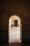 Arch to arch look into moorish style courtyard. With ornate  carvings Stock Photo