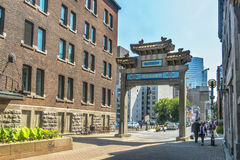Arch to Chinatown in Montreal. Arch on De La Gauchetiere street Chinatown  Montreal, Quebec, Canada Royalty Free Stock Images