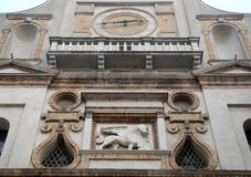 Arch Torrazzo in the historic center of Crema in the province of Cremona in Lombardy (Italy). Photo made arch of Torrazzo in the city of Crema in the province of Stock Photos