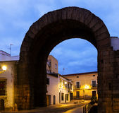 Arch of Trajan of Merida in morning Stock Photography