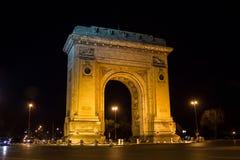 Arch of Triumph. Arc De Triomphe(Arcul de Triumf in romanian) in the night, Bucharest, Romania Royalty Free Stock Photo