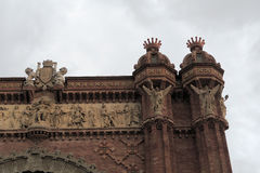 Arch of Triumph Arc de Triomf detail in Barcelona, Spain. Arco de Triunfo in spanish, was built for the 1888 Barcelona World Fair, before the entrance of Parc Stock Image