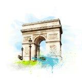 Arch of Triumph (Arc de Triomphe), Paris, France. Vector Illustration