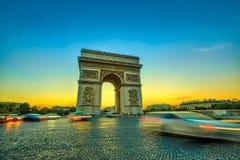Sunset Arc de Triomphe stock image
