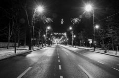 The Arch of Triumph Arcul de Triumf from Bucharest Romania. Christmas lights ornaments, view from Kisseleff Avenue Stock Photo