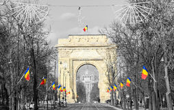 The Arch of Triumph Arcul de Triumf from Bucharest Romania, National day Royalty Free Stock Photo