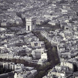 Arch of Triumph autumn scenery aerial view in  Paris Stock Images