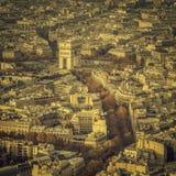 Arch of Triumph autumn scenery aerial view in  Paris Stock Image