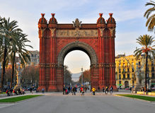 Arch of Triumph in Barcelona city. BARCELONA, SPAIN - JANUARY 6: Arch of Triumph in Barcelona city centre on January 6, 2015. Barcelona is the second largest Stock Photo