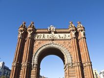 The Arch of triumph, in Barcelona. The old Arch of Triumph, in Barcelona, Catalonia, Spain Royalty Free Stock Images