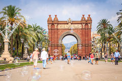 Arch of Triumph, Barcelona, Spain. Barcelona, Spain - October 4, 2016: Arch of Triumph with many tourists in Catalonia Stock Images