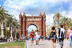 Arch of Triumph Barcelona, Spain. Arch of Triumph Barcelona on a sunny day wirth people walking along the promenade enjoying the day out, Spain Royalty Free Stock Photo