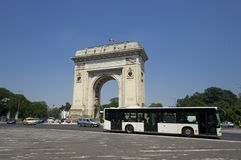 Arch of Triumph, Bucharest. Traffic at  Arch of Triumph, Bucharest. Romania Royalty Free Stock Photography