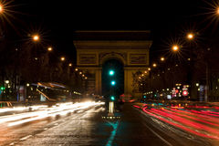 Arch of Triumph and Champs Elysees. In Paris Royalty Free Stock Photo