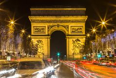 Arch of Triumph and Champs Elysees, Paris. Arch of Triumph and Champs Elysees in Paris, France Stock Photos