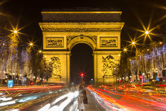 Arch of Triumph and Champs Elysees, Paris. Arch of Triumph and Champs Elysees in Paris, France Stock Photo