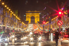 Arch of Triumph and Champs Elysees, Paris. Arch of Triumph and Champs Elysees in Paris, France Stock Images