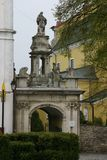 The arch of triumph at the entrance to the catholic cathedral in Kamieniec-Podolski, Ukraine. stock image