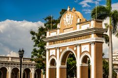 The Arch of Triumph in Jose Marti Park, Cienfuegos, Cuba. The arch is a monument to Cuban independence stock photos