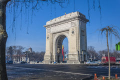 Arch of triumph. Triumph Arch, landmark in Bucharest, Romania Stock Images