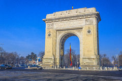 Arch of triumph. Triumph Arch, landmark in Bucharest, Romania Royalty Free Stock Image