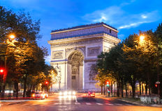 The Arch of Triumph at night, Paris, France stock photos