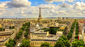 Arch of Triumph panorama. From Place Charles de Gaulle square. Trees street Avenues Marceau, d`Iena and Kleber in Paris, France, Europe. Distant view of Tour Stock Photos