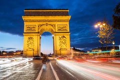 Arch of triumph, Paris. Arc de triomphe. Arch of triumph in Champs-Elysees, Paris, France. Night shoot long exposure Stock Photos