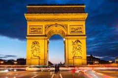Arch of triumph, Paris. Arc de triomphe. Arch of triumph in Champs-Elysees, Paris, France. Night shoot long exposure Royalty Free Stock Photos