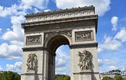 Arch of Triumph. Paris, France. Cloudy sky. stock photo