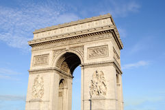 Arch of Triumph in Paris, France. Low angle Royalty Free Stock Photography