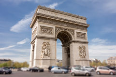 Arch of Triumph in Paris, France. Tilt-shift effect Royalty Free Stock Images