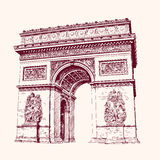 Arch of Triumph, Paris. hand drawn Stock Image