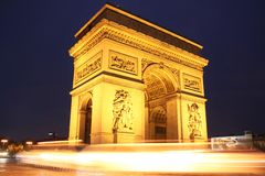 Arch of triumph in Paris at night Stock Photography