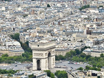 The arch of triumph paris seen from the Eiffel Tower Royalty Free Stock Images