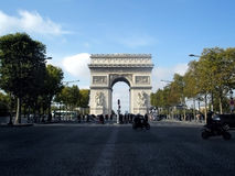 The Arch of Triumph. People crossing the street at The Arch of Triumph, Paris, France Royalty Free Stock Photo