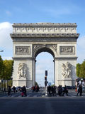 The Arch of Triumph. People crossing the street at The Arch of Triumph, Paris, France Royalty Free Stock Image