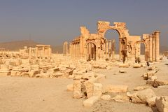 Arch of Triumph.Ruins of the ancient city of Palmyra shortly before the war, 2011. Arch of Triumph.Ruins of the ancient city of Palmyra on syrian desert shortly Stock Photography