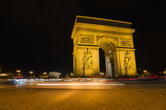 Arch of Triumph of the Star  in Paris (France) at night Royalty Free Stock Photo