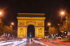 Arch of Triumph of the Star in Paris (France) at night. Arch of Triumph of the Star (Arc de Triomphe de l'Etoile) in Paris (France) at night Stock Photography