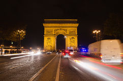 Arch of Triumph of the Star in Paris (France) at night Royalty Free Stock Photos