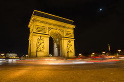 Arch of Triumph of the Star in Paris (France) at night. Arch of Triumph of the Star (Arc de Triomphe de l'Etoile) in Paris (France) at night Stock Images