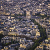Arch of Triumph sunset aerial view in  Paris Stock Photo