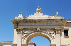 Arch of triumph, view of the top. A detailed view of the top of the royal door in noto, a well known example of neoclassic architecture in sicily, landscape cut Royalty Free Stock Photos