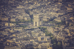 Arch of Triumph vintage aerial view in  Paris Royalty Free Stock Images