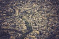 Arch of Triumph vintage aerial view in  Paris Stock Photos