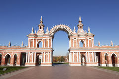 The arch in Tsaritsyno museum and reserve. Moscow, Russia stock photo
